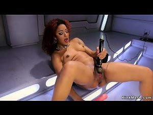 Curly ebony bangs huge dildo machine